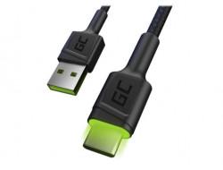 Kábel USB - USB-C zelená LED podsvietenie, 120cm