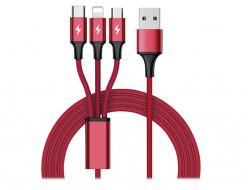 Kábel USB-USB-C/microUSB/Lightning, 1.2m, červený